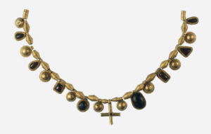 A necklace found in Desborough, Northamptonshire that is 1500 years old.